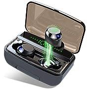 Cuffie Bluetooth 5.0 Auricolari Senza Fili, Donerton Hi-Fi Stereo Wireless Cuffie con Microfono, IPX8 impermeabili Cuffie Senza Fili con 3500mAh Custodia da Ricarica, Display LED e Touch Control