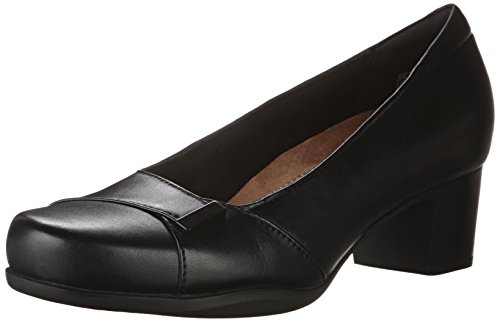 Clarks Women's Rosalyn Belle, Black Leather, 9.5 2A - Narrow