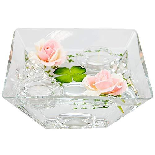 Eckige Glas-Schale Teelicht H.7,5cm Länge x Breite 20cm. Flache Dekoschale eckig mit Dekorations Set Rose rosè Dekoglas Glasgefäß mit ausgefallener Deko für Ihre Deko Ideen.