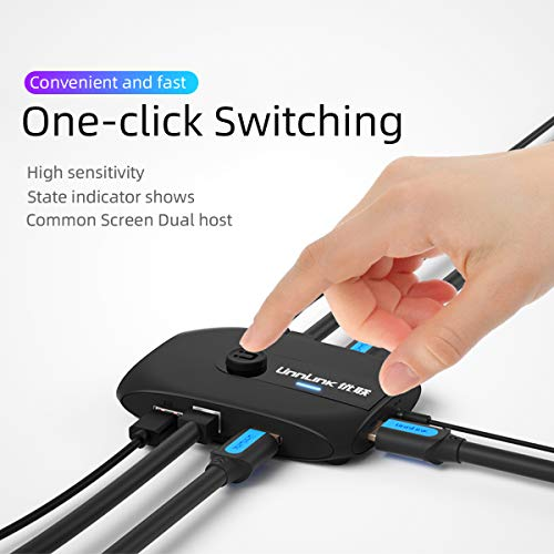 HDMI KVM Switch Unnlink KVM Switch 2 Ports FHD 1080P 60Hz with USB 2.0 Cable Sharing Monitor Printer Keyboard Mouse for 2 Computers Laptops PS4 PS3    Printer Set Top Box Projector
