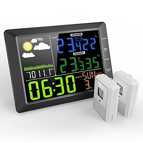 Wetterstation mit Außensensor Funk MESTEK Innen Außen Digital Thermometer Hygrometer Funkwetterstation Wettervorhersage Barometer Temperatur Farbdisplay LCD Wecker Uhrzeit für Zuhause Büro Hausgarten