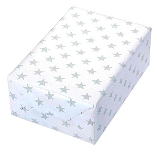Geschenkpapier Weihnachten 3 Rollen, Motiv Nova weiß Sternen-Design aus weiß-silbernem Reliefglitter auf Perlglanz weißem Fond. Für Weihnachten. Edel und hochwertig. Weihnachtsgeschenkpapier.