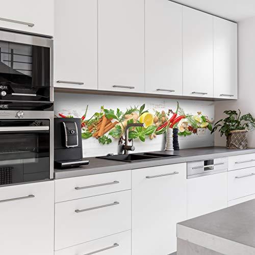 Dedeco Küchenrückwand Motiv: Obst & Gemüse V2, 5mm Hartschaum Kunststoffplatte PVC als Spritzschutz Küchenwand Wandschutz wasserfest, UV-Lack glänzend, alle Untergründe, 220 x 60 cm