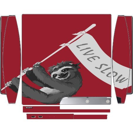 Sloth Pirate Live Slow Flag Banner Red Background Playstation 3 & PS3 Slim Vinyl Decal Sticker Skin by Moonlight Printing