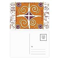 茶色のパターンメキシコトーテムの古代文明の描画 公式ポストカードセットサンクスカード郵送側20個