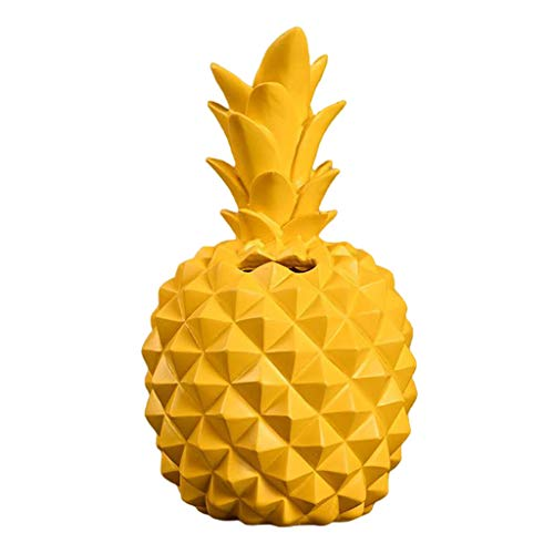 MagiDeal Elegant Pineapple Shape Resin Piggy Bank Novelty Kids Coins Cans Box Bank Ornament, Home Furnishings Decoration Craft Gift - Yellow