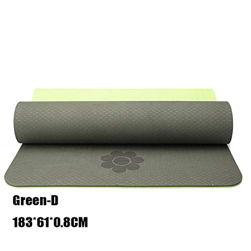 Fitness Non-slip Yoga Mat Pilates Yoga Mat Gym Environmental Friendly Tasteless TPE Sports Mat 183 * 61 * 6mm/8mm - DeepGreen0.8cm