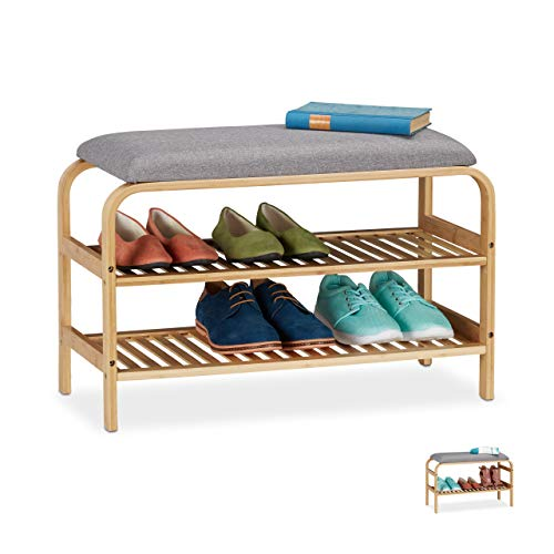 Relaxdays Schuhbank, 6 Paar Schuhe, gepolsterte Sitzfläche, Flur und Garderobe, Schuhaufbewahrung HBT 46x69x30 cm, natur