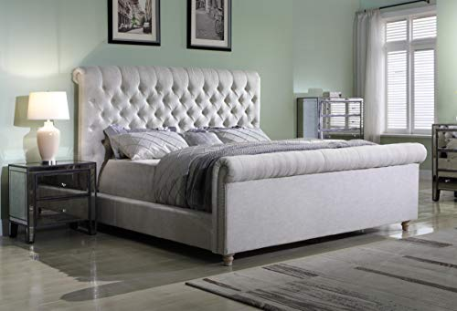 Best Master Furniture Jean-Carrie Upholstered Sleigh Bed King Beige