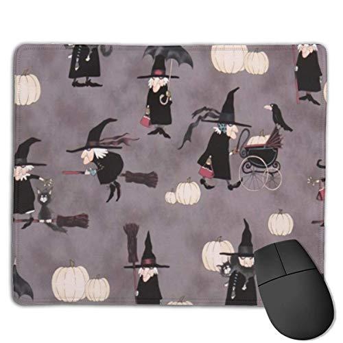 Halloween Hexe Fliegender Besen Kürbis Maus Matte Nettes Mauspad Gummibasis Mousepad mit genähter Kante Wasserdichtes Büromaus Pad
