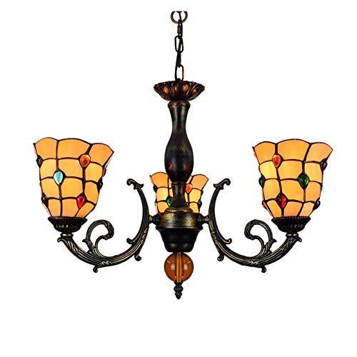 WTTWW Techo de la Sala Luz 6 Pulgadas Luz Pendiente del Estilo del vitral de Tiffany de la lámpara Perlas Coloridas Cortinas de la lámpara 3 Armas Araña con invertido Techo de la lámpara Colgante