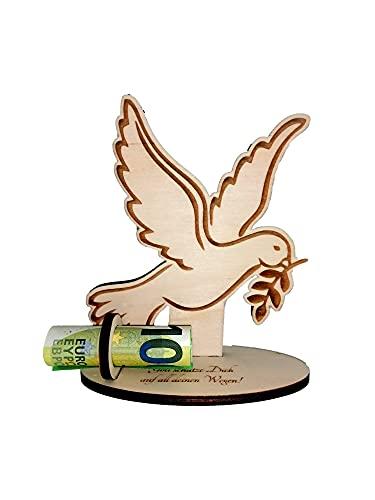 Regalo para dinero, paloma, tamaño: 15 cm x 13 cm, bautizo, comunión, confirmación, cristiano, artículo decorativo de madera con garvur, cumpleaños
