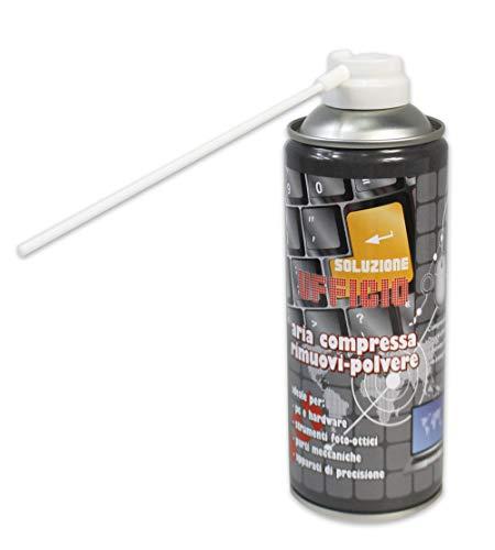 Vetrineinrete® Bomboletta Spray ad Aria Compressa 400 ml rimuovi polvere sporco tastiera accessori pc stampante Tv fotocamera con Cannuccia beccuccio Igienizzante 2818 D71