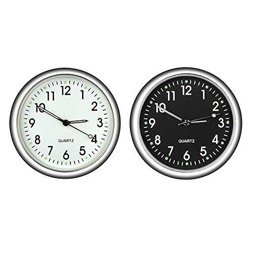 orologio al quarzo rotondo da auto, orologio al quarzo mini veicolo cruscotto orologio decorazione perfetta per auto 2pcs