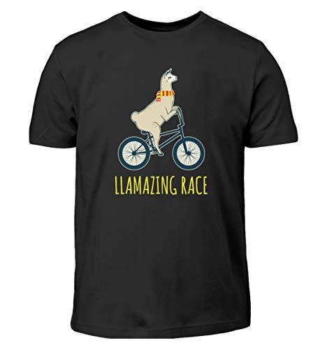 Camiseta infantil con diseño de Llama en bicicleta Negro 98 cm-104 cm