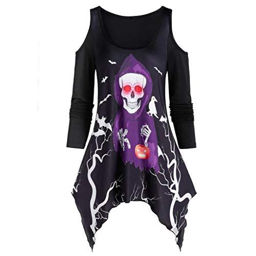 TWIFER Damen Asymmetrisch Langarmshirt Schädel Geist Schulterfrei Halloween Kürbis Shirt Übergrößen Tops (a-Schwarz,L)