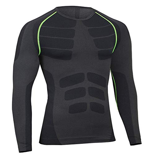 Bwiv Camiseta Hombre Deportiva Compresión Camiseta Interior Hombre Manga Larga Fitness Gimnasio Aire Libre para Entrenamiento Ciclismo de Negro Gris Línea Verde Talla XL