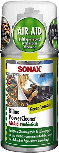 SONAX KlimaPowerCleaner AirAid Klimaanlagenreiniger Green Lemon (100 ml) sorgt schnell und einfach für langanhaltende Lufthygiene und befreit dauerhaft von lästigen Gerüchen | Art-Nr. 03234000