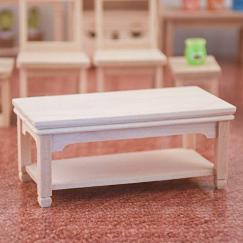 GRASARY 1/12 Rectangular Coffee Tea Side Table Home Furniture Dollhouse Mini Model Toy,Perfect DIY Dollhouse Toy Gift Set