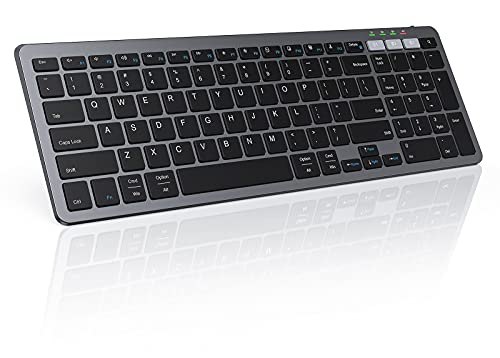 Multi-Device Bluetooth Keyboard for Mac OS/Windows/iOS/Android, seenda Rechargeable Slim Compact 2.4G Wireless Keyboard Dual Mode Keyboard with Number Pad Connect Up to 3 Devices
