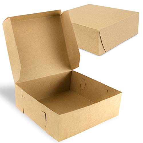 [25 Pack] Kraft Bakery/Pie Box 8 x 8 x 3 Inch - Brown Paper Cardboard Gift Packaging, Top Lids, Corner Lock, for Cupcake, Cookies and Pastry, Restaurant, Shipping Containers and Personalized Favors