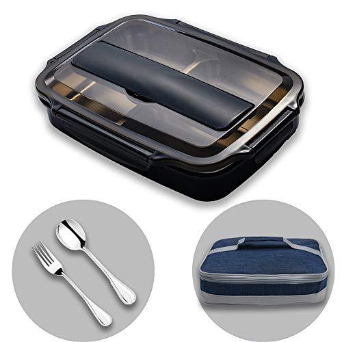 HUAFA Scatola Pranzo, Lunch Box con Posate e Borsa per Il Pranzo (Nero)