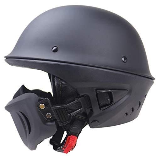 Zyy - Casco de moto, half Quick Release Pulsera Harley Retro casco ligero semirostro cascos bicicleta para hombre y mujer, ABS, negro, L 59-60cm