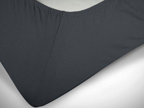 klassisches Jersey Spannbetttuch – erhältlich in 22 modernen Farben und 6 verschiedenen Größen – 100% Baumwolle, 70 x 140 cm, anthrazit - 6