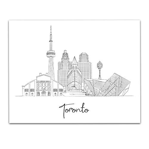 Toronto, Canada City Skyline Landscape Wall Art Decor - Unframed 11 x 14 Black & White Hand Illustrated Capital City Home Town Vacation Travel Print - Great Gift for Family & Friends