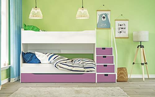 Max 4 Etagenbett mit Schubkastentreppe in Weiß/Pink Hochbett Kinderbett Bett