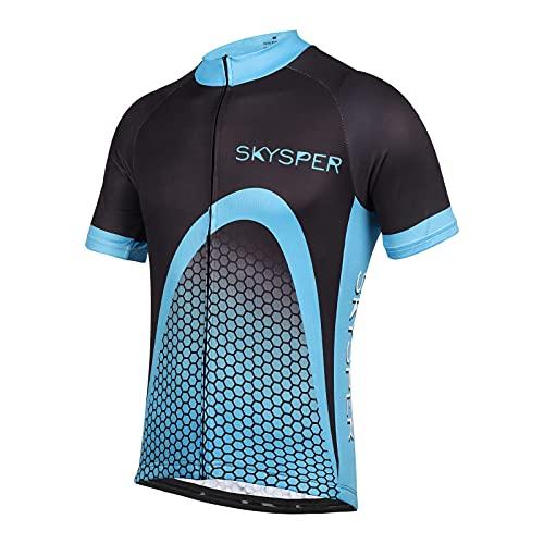 SKYSPER Maillot Ciclismo Hombre Camiseta Ropa de ciclismo Manga Corta Ropa Ciclista para Bicicleta de Montaña con Bolsillo Transpirable Secado Rápido Verano para Deportes al Aire Libre Ciclo Bicicleta