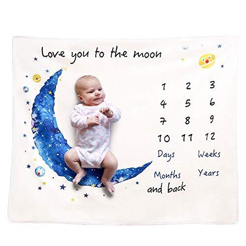 DERCLIVE Manta mensual para bebés recién nacidos, diseño de luna, franela, manta
