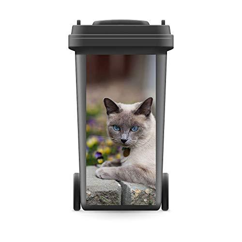WERBEPUNKT. Mülltonnenaufkleber Mülltonne Mülleimer Abfalltonne Sticker Katze Kater Steine - 800 x 370 mm