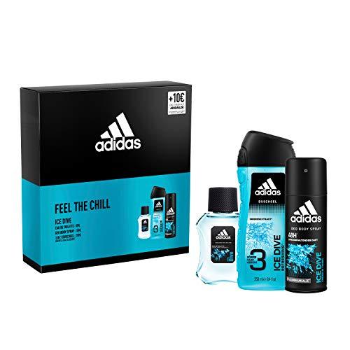 Adidas ICE DIVE EDT 50ml +Deo Body Spray 150ml+Duschgel 250ml+10€ Gutschein Geschenkpackung, 1 stück