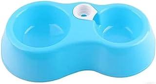 ペットボウルスタンドセット えさ入れ 自動給水器 ごはん皿 お水入れ 猫 犬 ペットボール (ブルー)