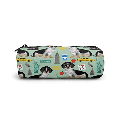 Pencil Case Doxie Piebald Nyc Black And White Dachshund Travel Dog Mint Pen Stationery Pouch Bag Cosmetic Makeup Bag Toiletry Bag Cylinder cosmetic bag for Student Office College