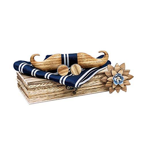 Bella 4PCS Cravatta a Farfalla e Fazzoletto Gemelli Boutonniere Set in Legno Papillon da Uomo Barba Beard Forma per Festa Matrimonio CerimonieElegante con Regalo Box di Legno
