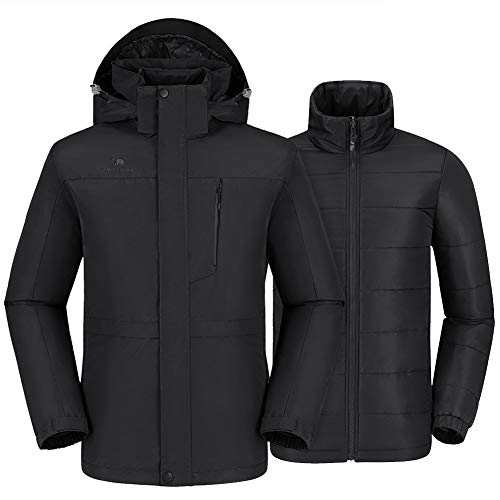 CAMEL CROWN Men's 3 in 1 Waterproof Ski Jacket Winter Jacket, Windproof Puffer Liner Snow Jacket Coat for Hiking Snowboard Black