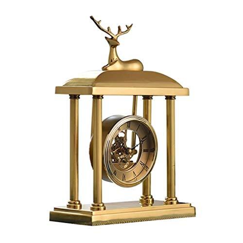 LFSP-batterij werkt Desktop Clock Mute Klok handgemaakte koperen Desktop Clock Analog Clock Haard Golden Lantern Frame Klok
