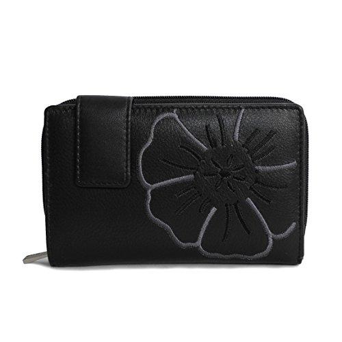 Branco Leder - sehr feine Trifold Leder Damen Geldbörse, Portemonnaie, Ladys Wallet mit aufgesticktem Blumen Motiv verfügbar - präsentiert von ZMOKA® (Schwarz)