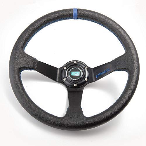EPMAN TK-FXP7709 Volant de direction universel 350 mm en cuir PVC avec bouton klaxon Bleu