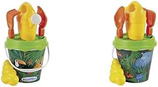 Simba Ecoiffier Beach Jungle Bucket with Accessories, Multi-Colour, 17 cm