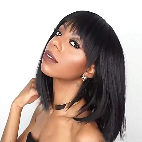 Wigs for women Black Color Short Bob Synthetic Full Hair Wig Heat Resistant Short Straight Black Wig for Women