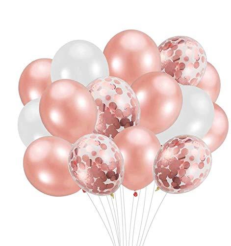 Sylanda Luftballons 50 Stück, 12 Zoll Glitzer Ballons, 10 Stück Konfetti Luftballons 20 Stück Ballons Rosegold 20 Stück Weiß Ballons für Hochzeit Dekoration, Geburtstag Party Deko, Valentinstag.