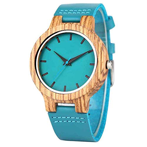 UIOXAIE Orologio in Legno Top Luxury Royal Blue Wood Watch Orologio da Polso al Quarzo 100% Natural Bamboo Clock Fashion Leather San Valentino Migliori Regali, Taglia da Uomo
