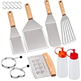 Homikit 14-Piece Metal Spatula Set, Stainless Steel Pancake Fish Egg Hamburger Flipper Turner, Griddle Accessories Tools for Kitchen Restaurant BBQ Cast Iron Gas Griddle