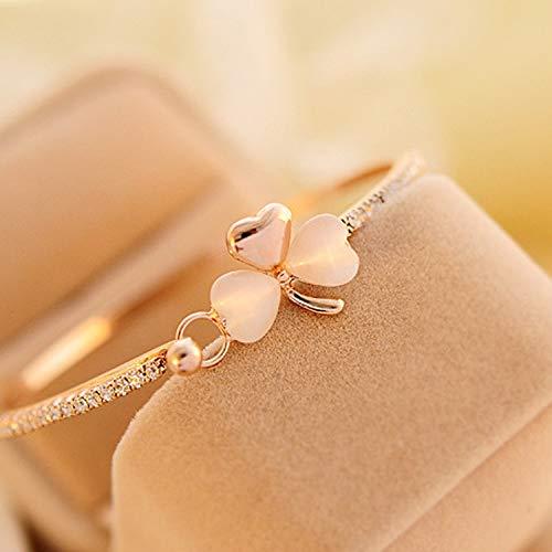 Bracelet en or rose avec trèfle sauvage - Accessoires pour montre porte-bonheur - Lune de miel - Cadeau d'anniversaire