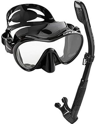 Cressi Scuba Diving Snorkeling Freediving Mask Snorkel Combo, All Black, Model: CRSFMSS-PP_H