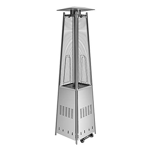Anbull 48000 BTU Outdoor Pyramid Patio Heater, 90-Inch Quartz Glass Tube Outdoor Propane Patio Heater with Wheels.
