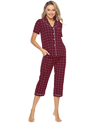 iClosam Pijama Mujer Verano Celosía Camiseta y Pantalones Suave Comodo Casual Ropa para Dormir